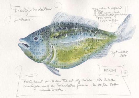 Nr.140 Fischfrikadellen für 4 Personen - Aquarell 2017