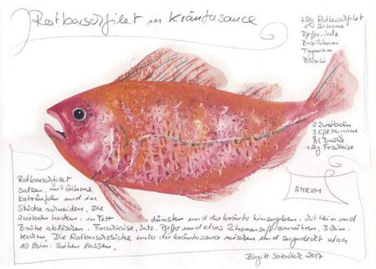 Nr.146  Rotbarschfilet in Kräutersauce - Aquarell 2018