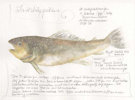 Nr.164  Lachshäppchen - Aquarell 2010