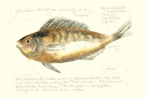 Nr.69  Gebackener Kabeljau mit Curry und Kräutern - Aquarell 2014