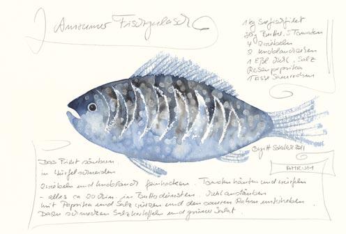 Nr.80  Amrumer Fischgoulasch - Aquarell 2011   €